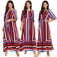 Summer Dress Stripe Patchwork Color Block Muslim Maxi Dresses Breast Feeding Front Button Loose Casual 2019 Dubai Kaftan Dress