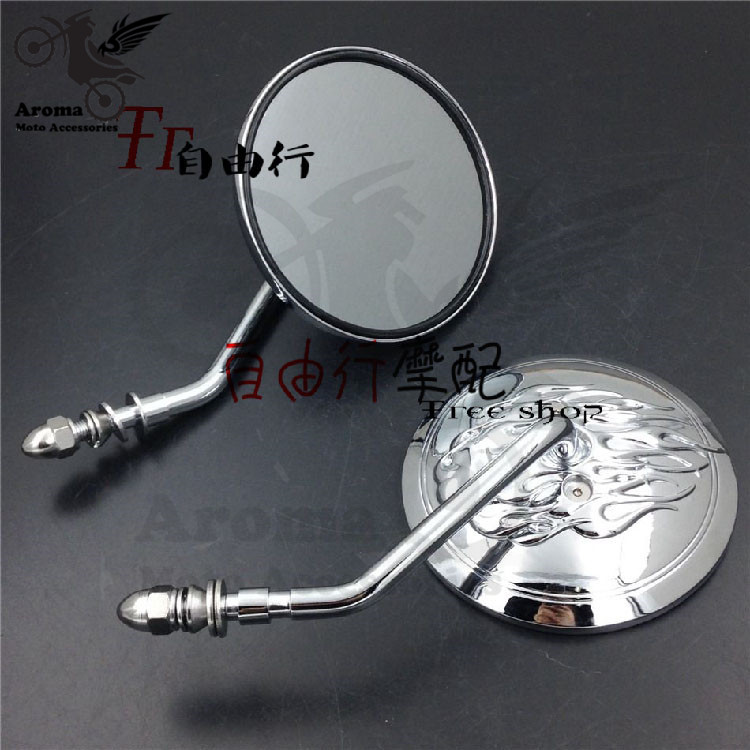 top quality fire decal round chrome motorbike rearview mirrors unviersal motorcycle side mirror for harley mirror moto rearview