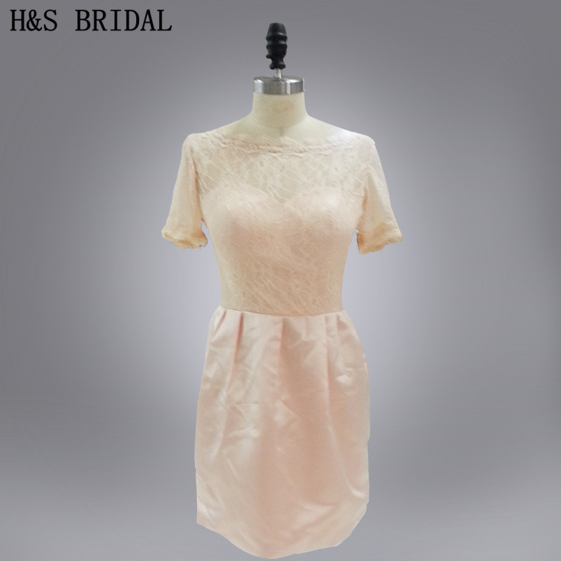 H&S BRIDAL Real Model Light pink To lace O-neck Short Sleeves   cocktail     dresses
