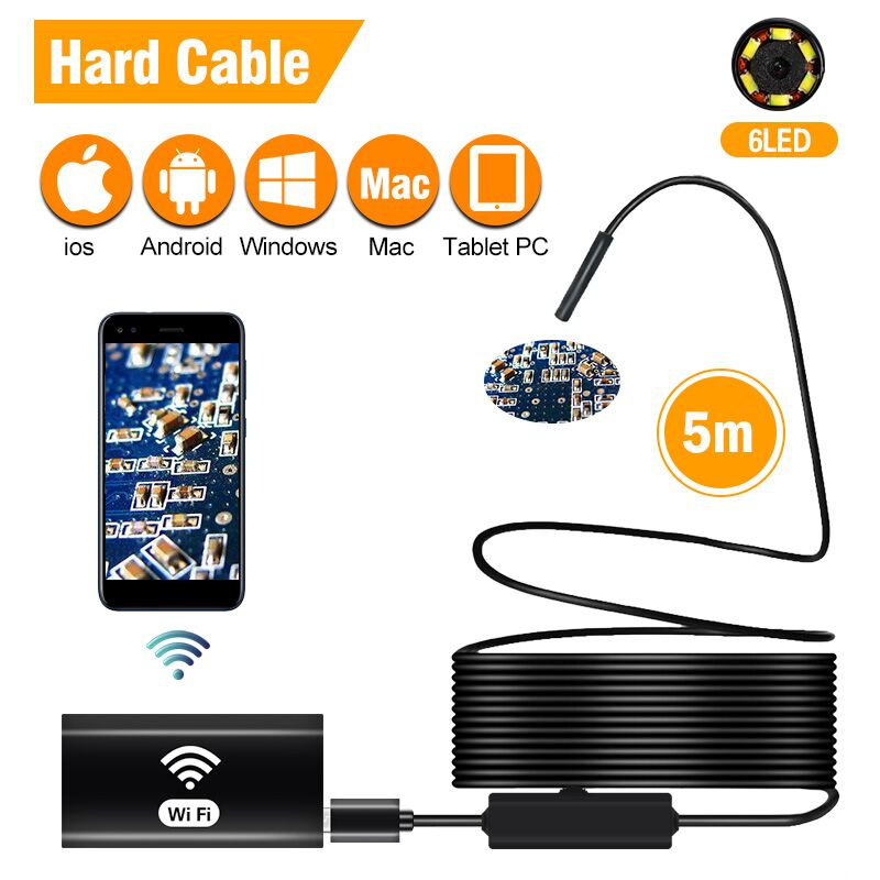 WiFi Inspection Camera IP67 Waterproof Semi Rigid Wireless Borescope 8mm Endoscope Camera IOS Endoscope For Android