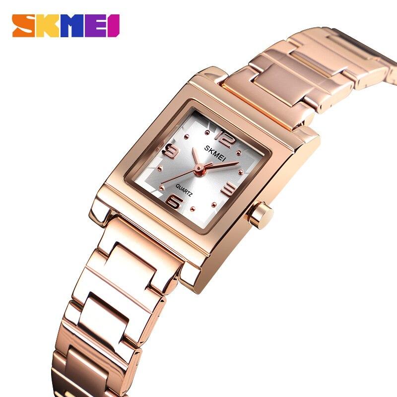 SKMEI Women's Watch Light Luxury Quartz Top Brand Fashion Stainless Steel Bracelet Crystal Watches Ladies  Relogio Feminino 1388
