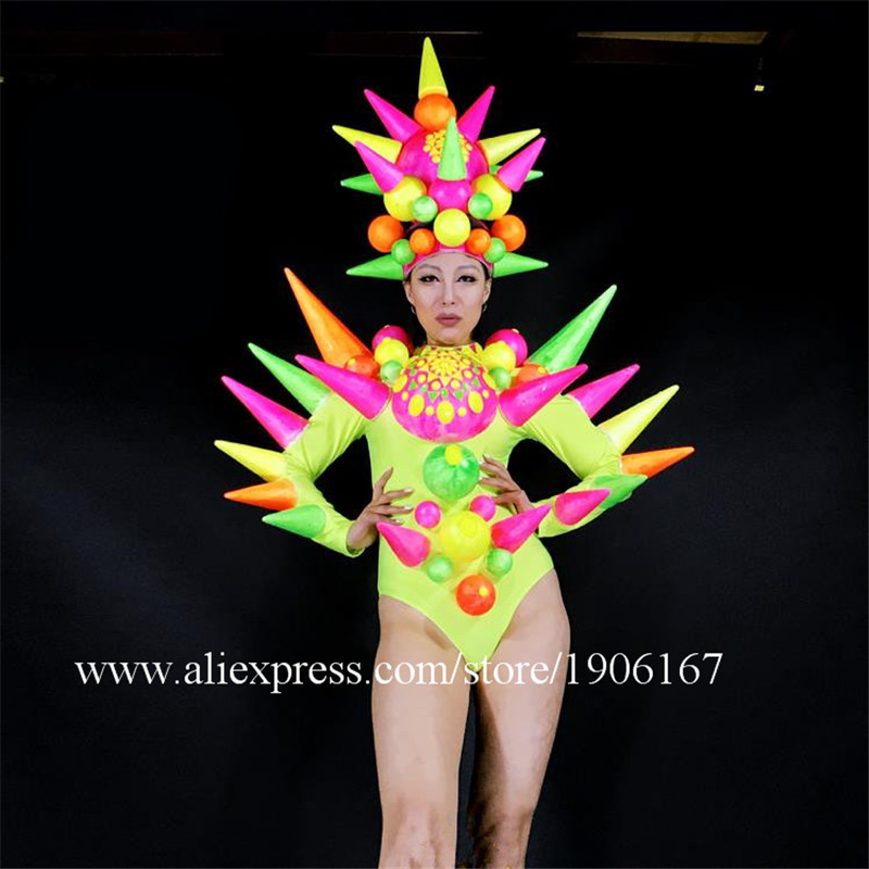 News Sexy Girl Stage Performance Ballrooom Costume Clothes Women Dancer DJ Singer Suit Headwear