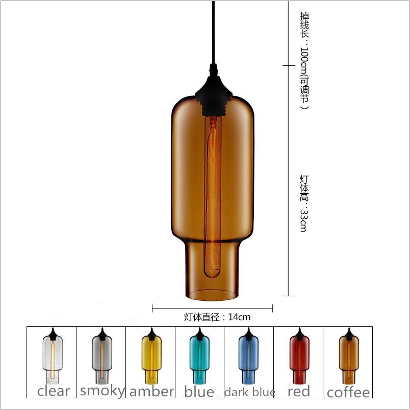 Country D15cm H33cm Long Glass Pendant lights Lamp kitchen dining room cafe shop glass nordic suspension Edison hanging light factory cheap amber smoky gray red coffee blue glass pendant lamp pendant light edison bulb bedroom dining room cafe kitchen bar