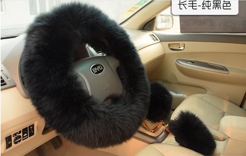 Winter Warm Pure Wool Car Steering Wheel Covers Plush Fur Auto Interior Steering-Wheel Case Accessories Universal 15 inch 38CM