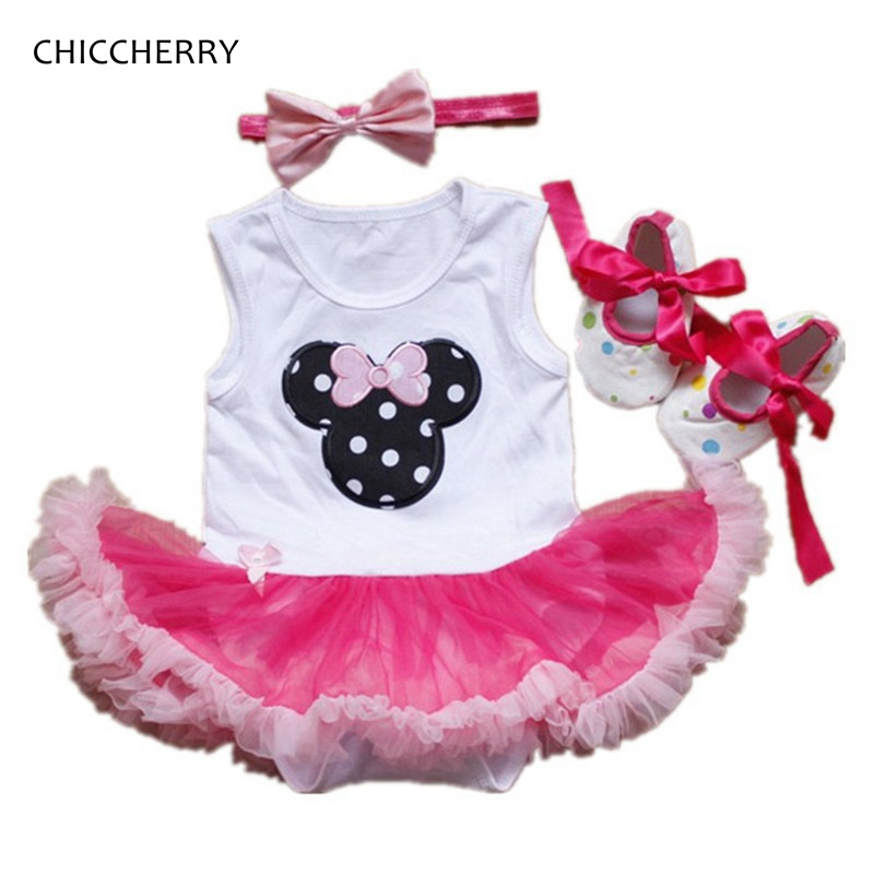 3 Piece Baby Girl Newborn Minnie Bodysuit Tutu Crib Shoes Headband Girls Birthday Outfits Girl Party Dress Infant Clothing Set