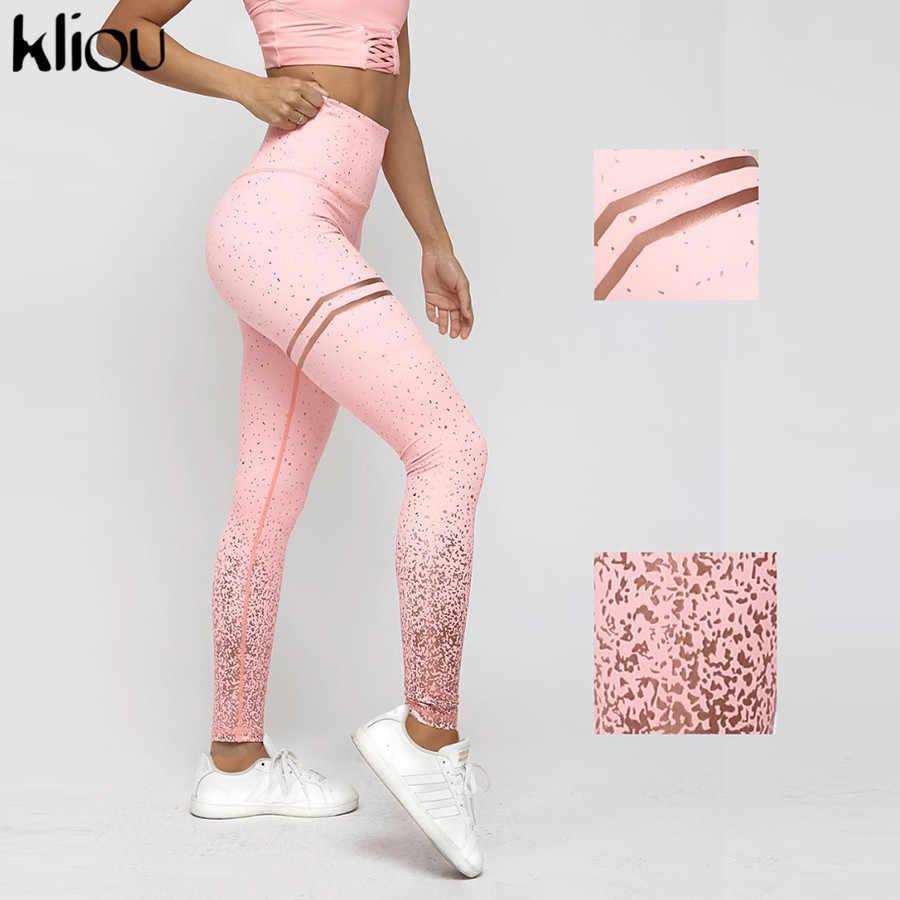 5f2a5af2de66 Kliou high waist elastic leggings stripe dots print cut fitness sportswear  women new fashion Christmas party