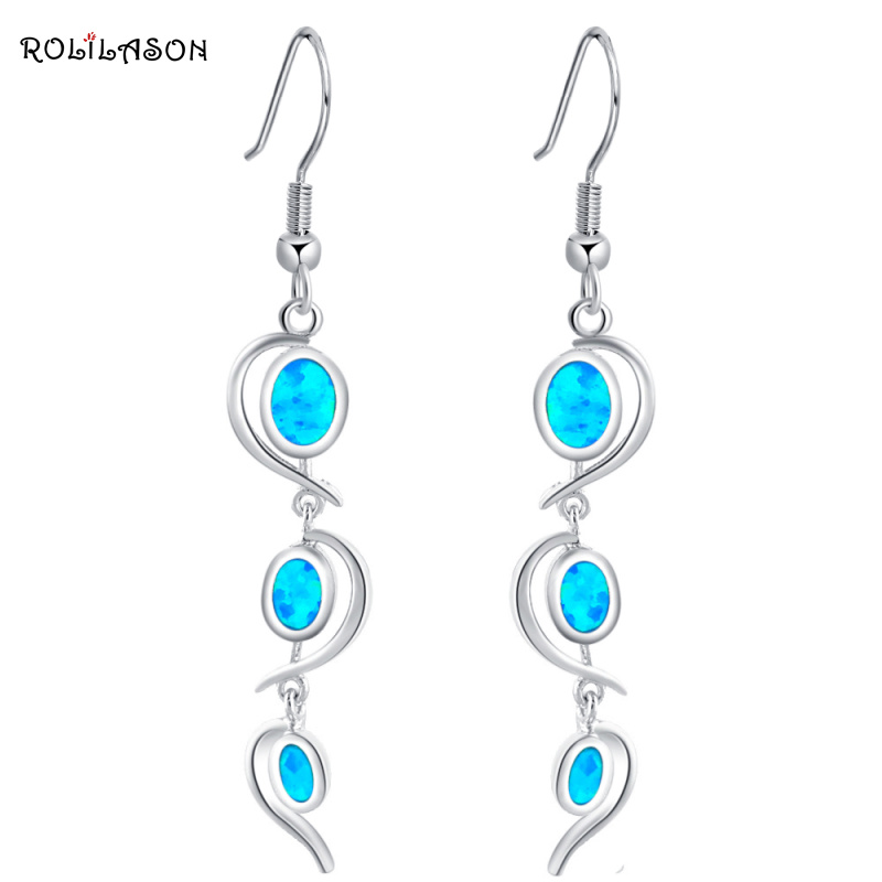 Delicate Dangle earrings Wholesale & retail Blue Fire Opal Silver Stamped Drop Earrings for women Party Fashion Jewelry OE364 pair of delicate graceful solid color opal embellished waterdrop shape earrings for women