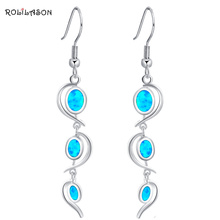 Delicate Dangle earrings Wholesale & retail Blue Fire Opal Silver Stamped Drop Earrings for women Party Fashion Jewelry OE364