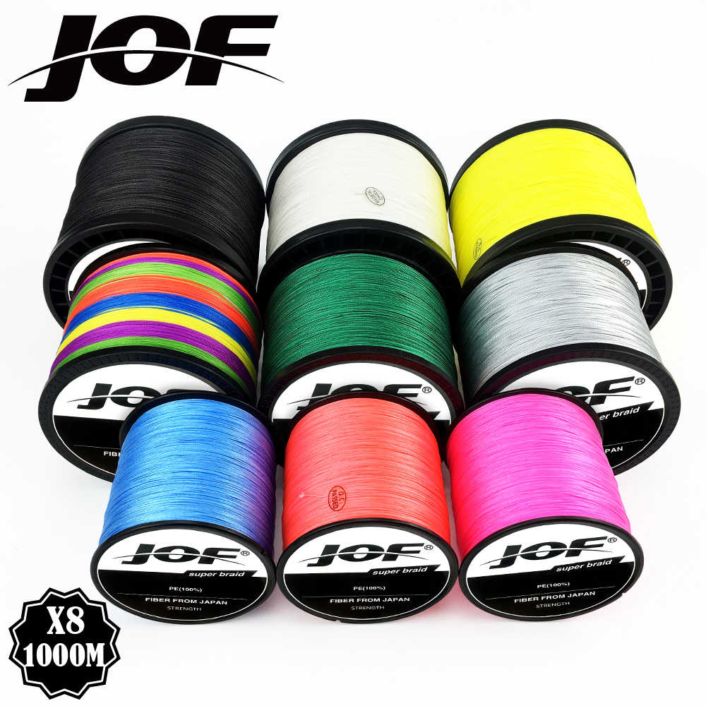 JOF-sedal de pesca multifilamento trenzado, tejido de pesca multicolor, extremadamente súper fuerte, 8 hebras, 1000M, 500M, 300M, PE
