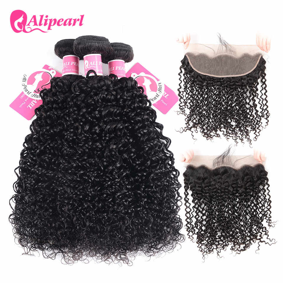 AliPearl Hair Malaysian Curly Weave 3 Bundles Human Hair Lace Frontal Closure With Bundles Natural Black Remy Hair Extensions