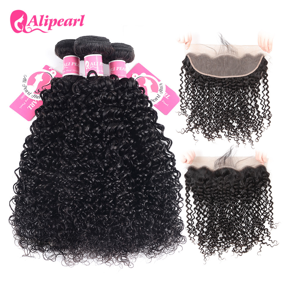 Audacious Alipearl Hair Malaysian Curly Weave 3 Bundles Human Hair Lace Frontal Closure With Bundles Natural Black Remy Hair Extensions Can Be Repeatedly Remolded. 3/4 Bundles With Closure