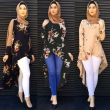 Muslim Abaya Dress Shirt Blouse Tops Print Flower Loose Style Plus Size