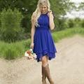 2016 moda azul da dama de honra vestidos Halter plissado Chiffon vestido de festa vestido de noivas frete grátis