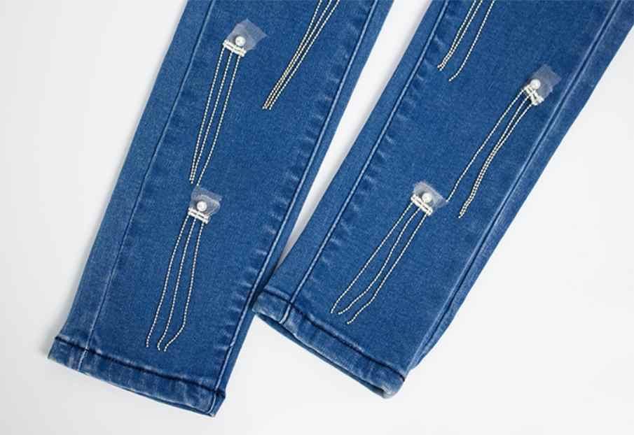 Для женщин Стройный бисером кисточкой Джинсовые штаны Большой размер весенний осень, для женщин эластичные узкие штаны ковбойские сексуальные джинсы брюки K1034
