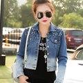Продвижение Горячий Новый женская МОДА Осень Корейский e заклепки джинсовой короткий жакет, Большой размер Тонкий джинсы куртка женщин XL