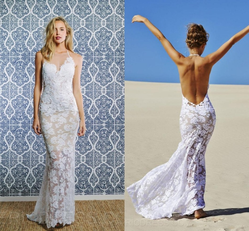 Romantic plus size custom made halter backless sexy lace for Lace beach wedding dresses