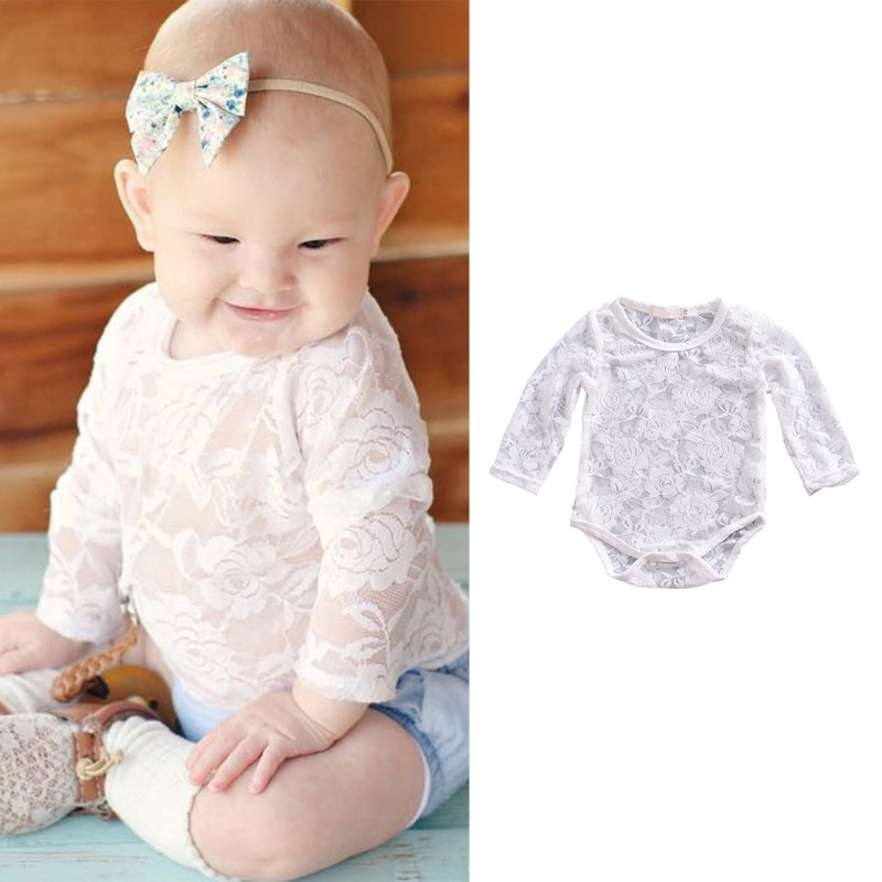 все цены на 2018 Cute Baby Girls Lace Long Sleeve Romper Infant Lace Clothes Sunsuit Outfits White&Black