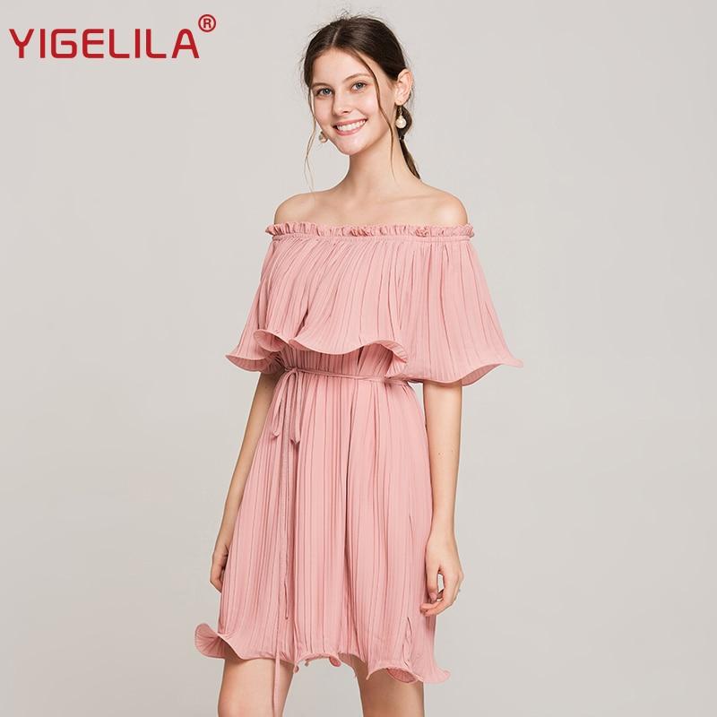 Yigelila المرأة الصيف الوردي مطوي اللباس - ملابس نسائية