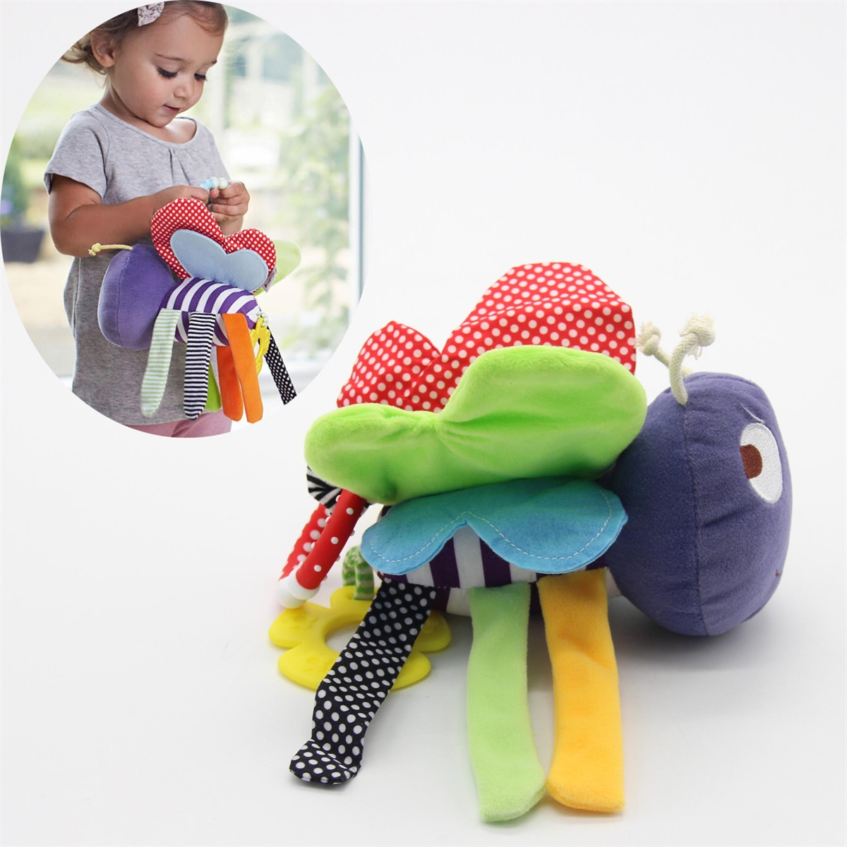 Hot Baby Plush Toy Colorful Bee Crib Bed Hanging Ring Bell Toy Soft Baby Rattle
