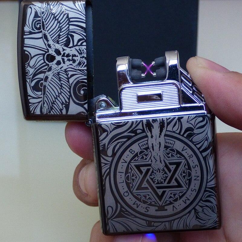 2018 Design Aufladbare Elektronische USB Feuerzeug Zigaretten Puls Winddicht Doppel Arc Elektrische Feuerzeuge Plasma Flammenlose