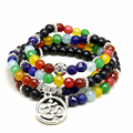 6 MM Perlas 108 Mala Chakra Pulsera de Ágata Mate 7 Chakra Meditación árbol de la vida colgante pulsera para hombres hombres de buda yoga joyería
