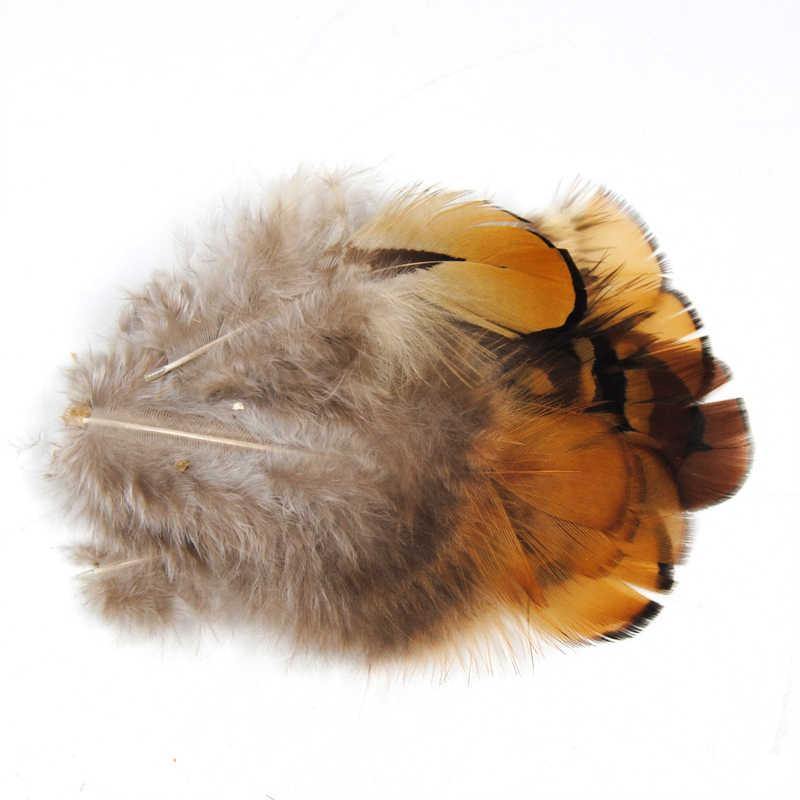 [20 Cái/túi] Màu Tự Nhiên Chim Trĩ Nâu/Đen Chải Sợi Lông Đuôi Fly Ràng Buộc Material