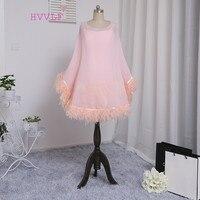 Dressgirl 2016 Formal Celebrity Dresses Sheath Spaghetti Straps Knee Length Pink Satin Feather Famous Red Carpet