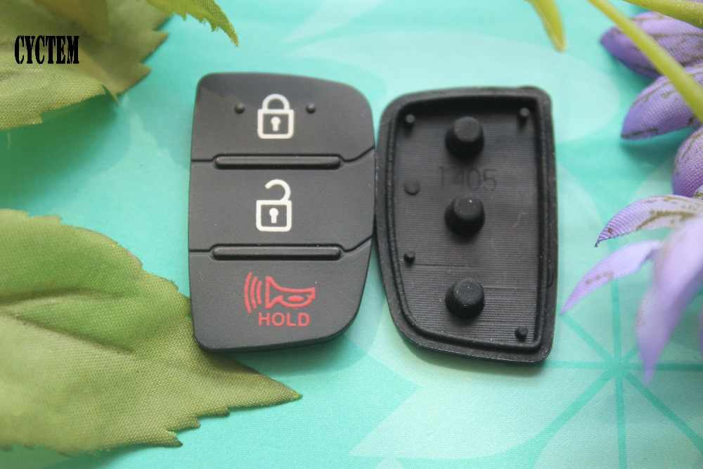 CYCTEM gümrükleme!! 3 düğmeler araba uzaktan anahtar kabuk Fob vaka kauçuk ped anahtar düğmesi Fit Hyundai IX45 IX35 Santa Fe