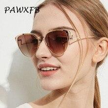 PAWXFB 2018 Vintage High quality Metal Cat Eye Sunglasses Women Men Celebrity Mirror Sun Glasses Retro lunettes de soleil Shades