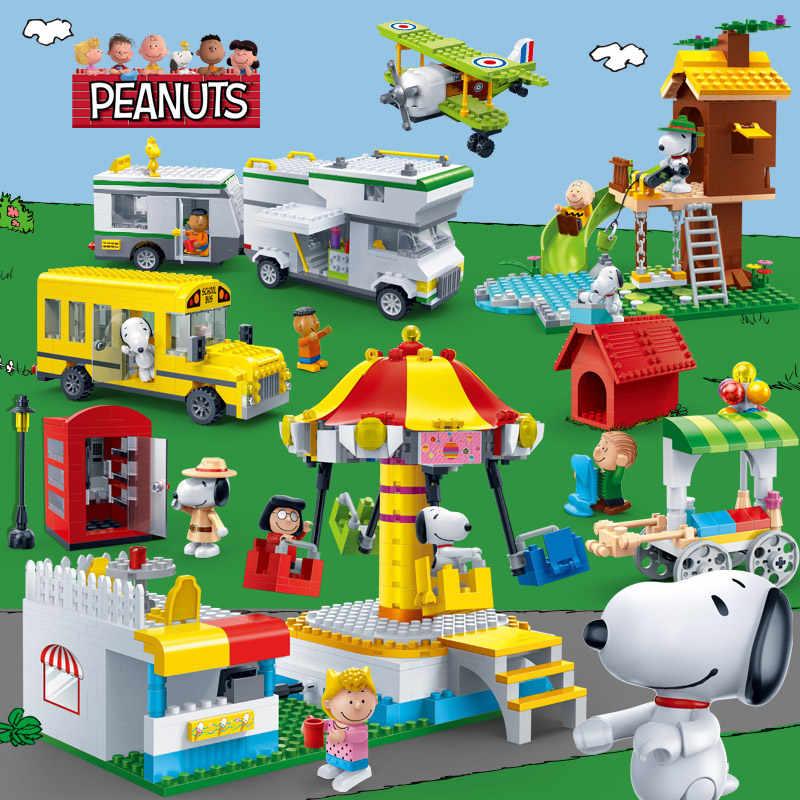 BanBao Hot Snoopy Peanuts IP Figura Modelo de Plástico Blocos de Construção de Brinquedos Para Crianças Crianças Educacional DIY Bricks compatível Marca