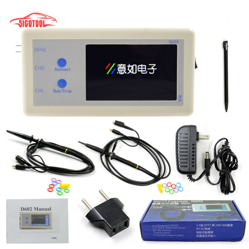 ФОТО 2016 New D602 Portable Digital Oscilloscope D602 200KHz Double Channel & 3.2 Inch LCD+Touch Panel Multi-function D 602 Osc