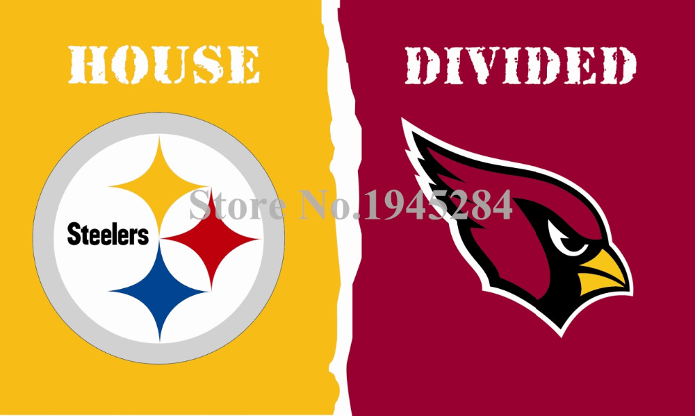 NFL Arizona Cardinals Pittsburgh Steelers House Divided Flag 3x5ft 150X90cm Polyester Flag Banner, free shipping