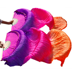 Image 3 - Dance Accessories Belly Dancing Silk Fans Stage Performance 100% Silk Belly Dance Fans Gradient Colorful