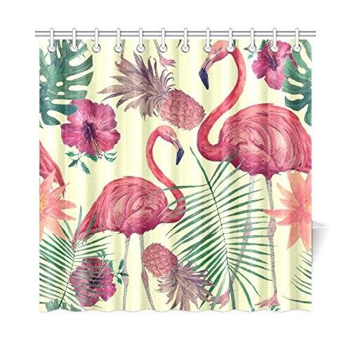 Vintage Tropical Home Bath Decor Flamingo Pineapple Polyester