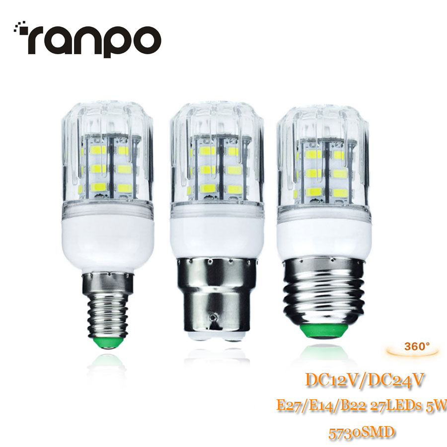 1PCS E27 B22 E14 27LEDs 5W Light Bulb 5730 SMD Energy Saving Lamp Corn Lights Spotlight Bulb Warm Cool White Lighting DC 12V 24V