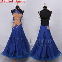 Professional Womens Ballroom Dance Dresses Standard Waltz Flamenco Tango Competition Dress Yellow For Salsa Competition Costume