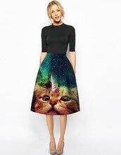 New Trend Women's Knee Length Dress Personality Funny cat starry sky 3D Printing Skirt Slim High Waist Empire Pleated Skirt