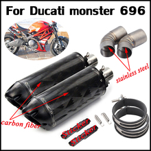 Motorcycle Stainless Steel Silp on For Ducati monster 696 Middle Connecting Pipe With Exhaust Muffler Tubes