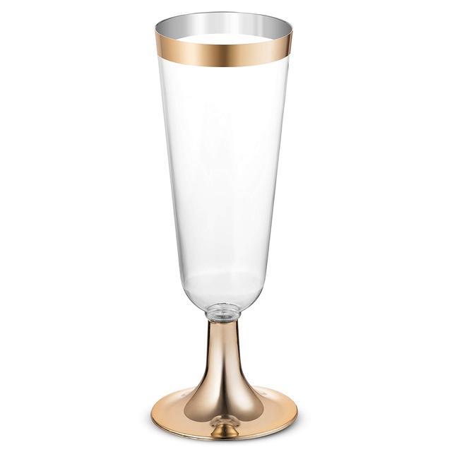 플라스틱 골드 rimmed 샴페인 피리 5.5 oz. clear 하드 일회용 파티 및 웨딩 유리 프리미엄 헤비 듀티 팬시 Cup 25pack