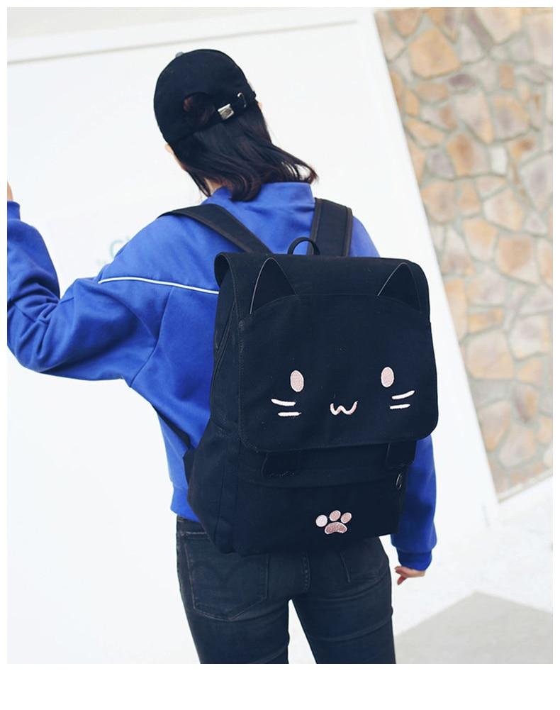 HTB1ckJ7a3mH3KVjSZKzq6z2OXXah Cute Cat Canvas Backpack Cartoon Embroidery Backpacks For Teenage Girls School Bag Fashio Black Printing Rucksack mochilas XA69H