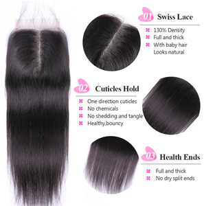 Image 4 - ISEE 3 Bundles Straight Hair With Closure Remy Human Hair Bundles With Closure  4*4 Free Part Swiss Lace Indian Hair Extensions