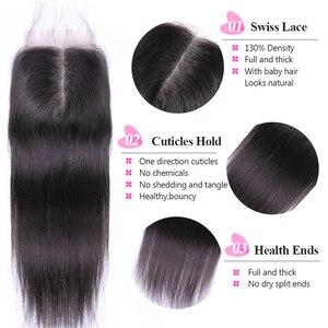Image 4 - ISEE 3 Demetleri Düz Saç Kapatma Ile Remy İnsan Saç Paketler Kapatma Ile 4*4 Ücretsiz Bölüm İsviçre Dantel hindistan tarzı saç uzatma