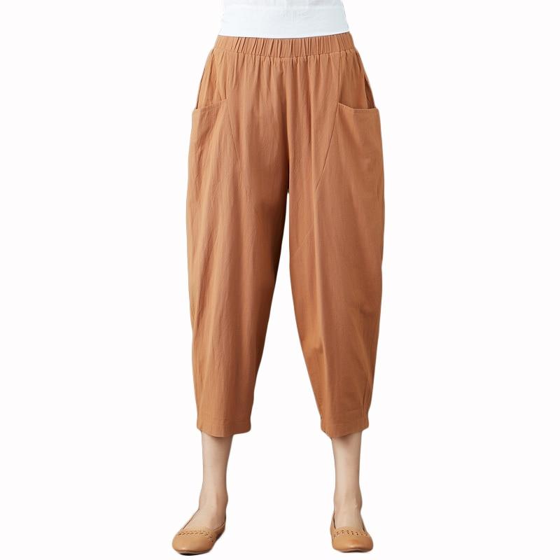 Summer Elastic Waist Cotton Linen Pocket Harem Pant Vintage Loose Mori Girl Oversized Home Tracksuit Plus Size Trouser Workout 39
