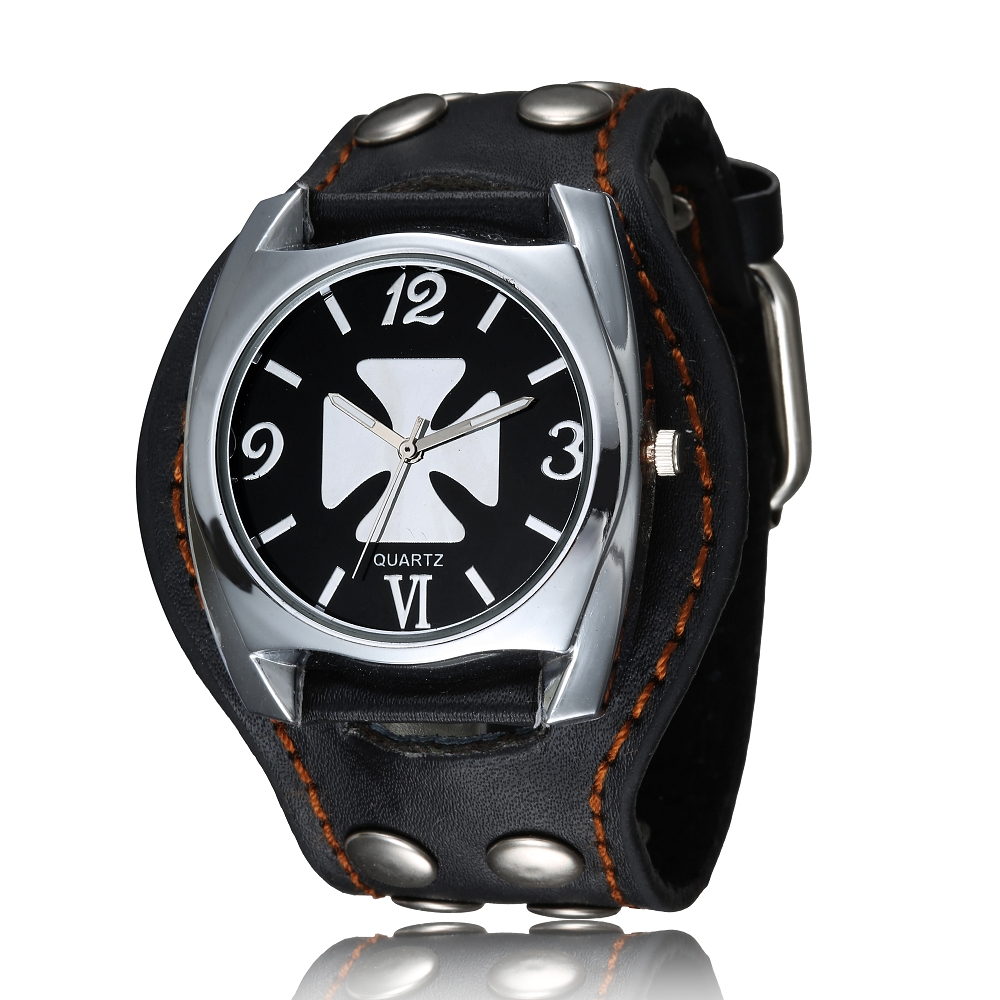 WristWatch Mens Vintage Cool Design Rock Punk Style Skull Watches Men Leather Band Square Dial Retro Rivets Bracelet Quartz Gift reebok reebok re160cufsr78