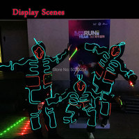 LED Luminous Clothing Illuminated Dance Clothes Glowing Robot Light Up Costumes Men EL Clothing Glowing Party Costume