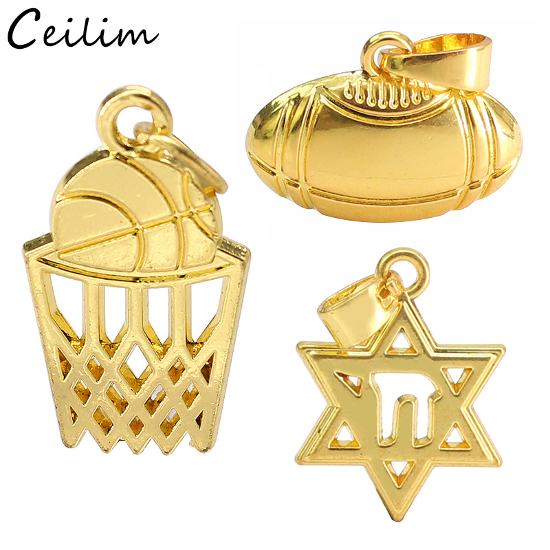 Fashion Gold Cake Food 6 Stars and Rugby Ball Pendant Charms for Jewelry Making Diy Cheap Accessories Wholesale