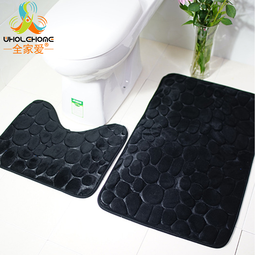 Polyester Bathroom Mat Solid Purple Black Grey Floor Mat Carpet Doormat Anti Slip Square U Shape Coral Flannel Fleece 2 PCS 1Set