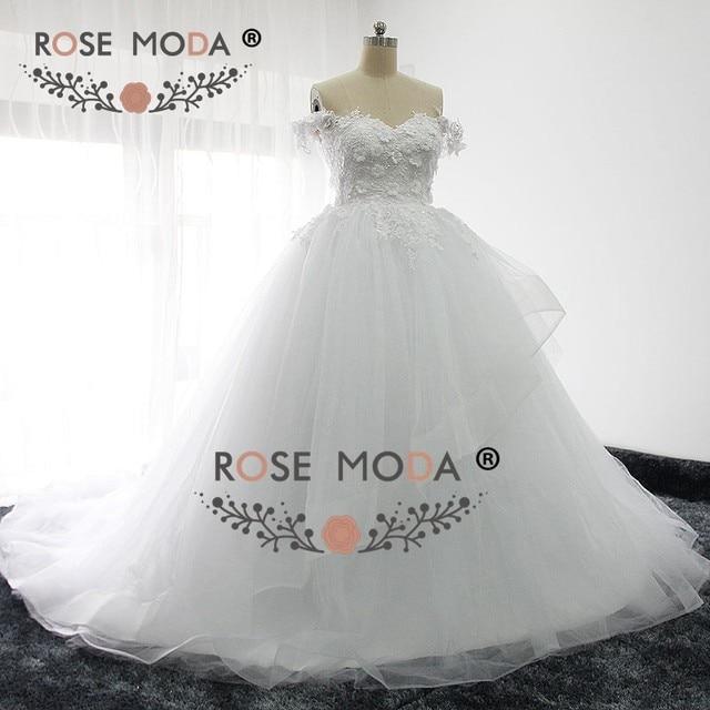 Online Shop Rose Moda Off Shoulder Princess Puffy Wedding Dress 3D ...