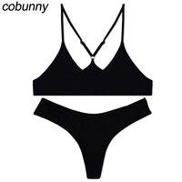 Cobunny Sexy Bikini 2018 Swimwear Women High Cut Brazilian Bikini Set Solid Color Halter Swimsuit Biquini