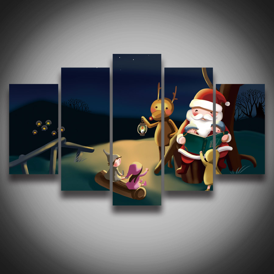 NO FRAME unframed Printed high quality Christmas gift Santa Claus painting on canvas 5 panels for wall decoration Canvas art Pri